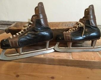 skates ice vintage leather czekoslovakia ice skates