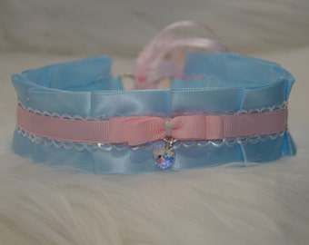 DDLG/Kitten Play Collar Baby Blue and Pink Collar with Swarovski Heart Charm