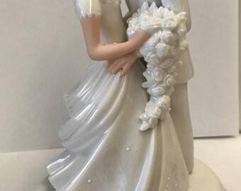 Wedding Cake Topper, Lenox Cake Topper, Bride and Groom Topper, Retired Wedding Cake Topper, Blonde Bride and Groom,