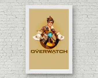 Overwatch TRACER Poster, Game Poster, Flat Print Design, Digital Printable Poster, Blizzard wall art, Instant Download, game art