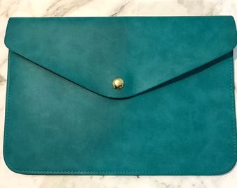 Personalised Monogram Leather Envelope Clutch in Ocean Blue with detachable wrist strap and shoulder strap