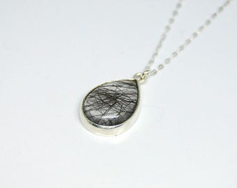 Tourmalinated quartz 925 sterling silver necklace
