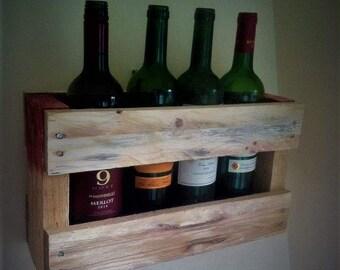 Reclaimed Wood Wine Rack , rustic wooden pallet wine rack, perfect gift,retro.