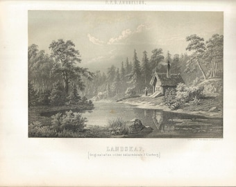 Vintage Swedish Landscape Print from 1865