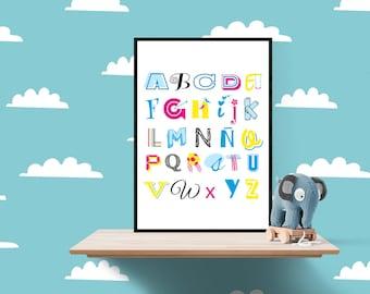 Child alphabet sheet, decoration child Scandinavian child, alphabet, gift for children, picture alphabet