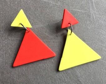 Citrus Fizz/Orange and Lemon/Polymer Clay Drop Earrings