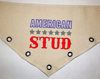 Fourth of July American Stud USA patriotic Unique grommet accent Canvas dog pet BANDANA red white blue tie-front or over the collar!