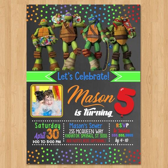 Teenage Mutant Ninja Turtles Invite - Chalkboard Green - Ninja Turtle Birthday Party Invite - TMNT Party Favors - Photo Invitation - Turtles