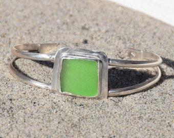 Genuine Sea Glass Sterling Silver Cuff Bracelet Green