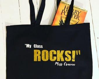 My Teacher Rocks Personalised Teacher Tote Bag