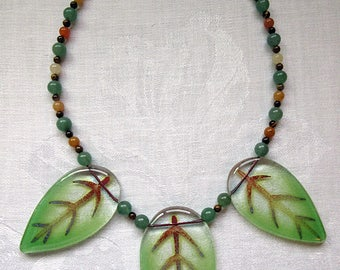 Spring Leaves Fused Glass Necklace