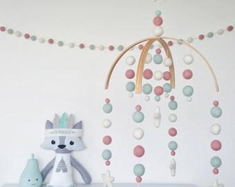 Mint & Pink Baby Mobile, Cot Mobile, Felt Ball Mobile, Nursery Mobile, Crib Mobile, Custom Made Mobile, Pom Pom Mobile, Baby Shower