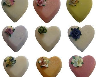 Handmade in UK Small Heart Guest Soaps Wedding Favours Birthday Christening
