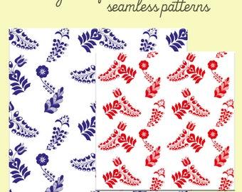 Folk art seamless patterns
