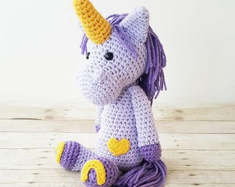 Crochet Unicorn Doll Toy Infant Baby Toddler Stuffed Animal Imagination Magical Girl Nursery Room Decor Decorations Baby Shower Gift Present