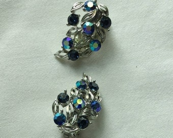 Lisner vintage silver tone and blue crystal clip-on earrings