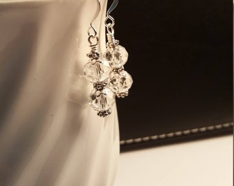 Clear Crystal Glass Drop Dangle Earring