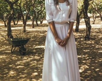 1950s vintage wedding dress, Long sleeve wedding dress, Country wedding dress, wedding dress with sleeves, Camellia blossom calla