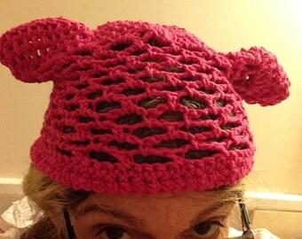 Open crocheted kitty hat in pink