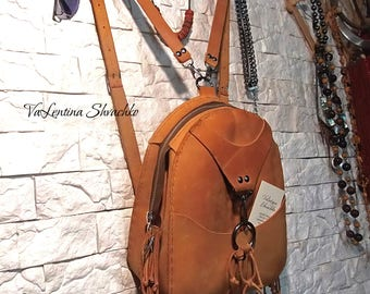 Handmade Leather Backpack/ boho biege small vintage city rucksack Women