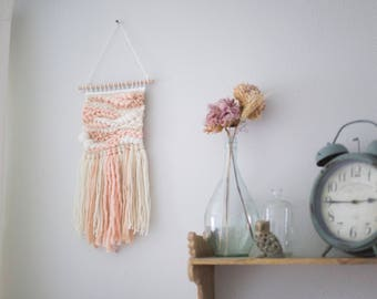 Blush and peach wall hanging \\ Weave \\ MTO \\ hand woven wall hanging \\ tapestry