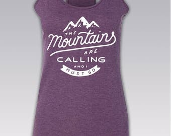 The Mountains are calling and i must go Shirt / Mountains Shirts / Camping t shirts / Camping Tank Top / Women's racerback Tank / S - 2XL