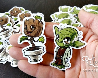 Groot and Yoda - set of 2 stickers