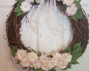 Summer wreath, spring wreath, dogwood wreath, flowered wreath, flora wreath, mothers day, mom