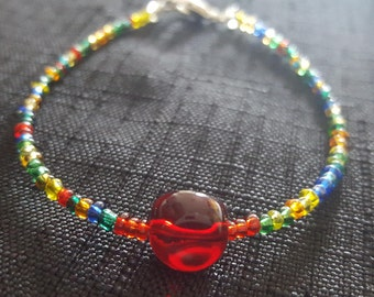 Red Bauble Rainbow beaded bracelet