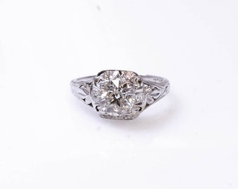 18K European Cut White Diamond Vintage Ring