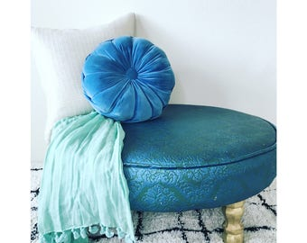 Vintage Bohemian Upholstered Vinyl Damask Round Ottoman- LOCAL PICKUP ONLY