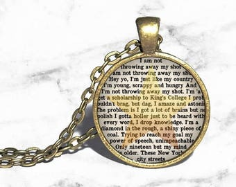 Alexander Hamilton, My Shot lyrics, Young scrapy hungry, Hamilton Musical Necklace, Musical Theatre, Broadway Jewlery, Necklace Keychain