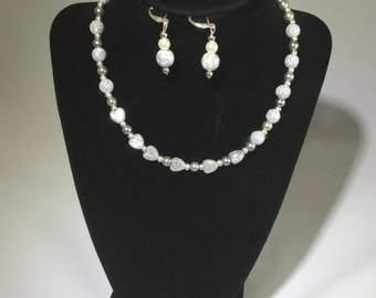 Silver Beaded Necklace with Matching Earrings