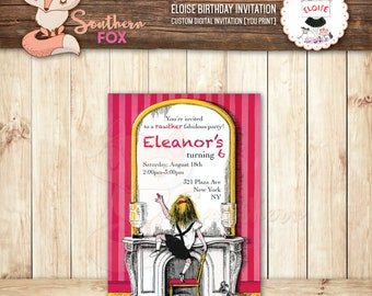 Eloise At The Plaza Birthday Invitation - Custom Digital Birthday Invitation 4x6