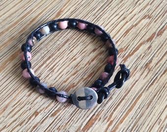 Leather bracelet, beaded bracelet, black beaded bracelet, pink beaded bracelet, black bracelet