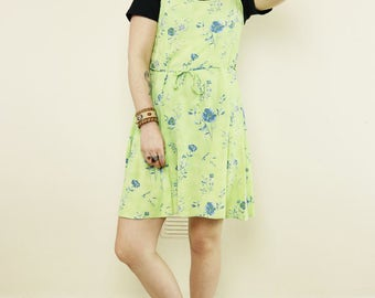 Vintage Lime Green Floral 90's Slip Dress
