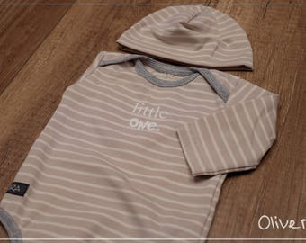 Set: Organic BabyBody with Cap Gr. 50-68 in sand