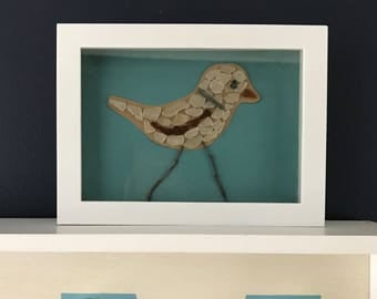 Seaglass Piping Plover - Maine made - Bird - Beach Plover  - Seaglass bird - Shorebird
