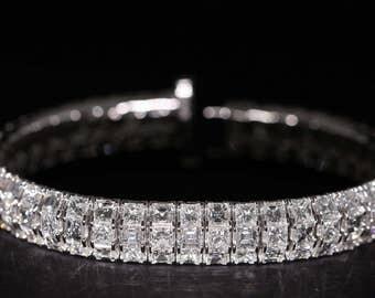 18K White Gold Princess & Carre Diamond Bracelet 23.37ct B1412328