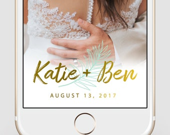 Custom Snapchat Geofilter | Wedding Snapchat Geofilter | Palm Leaf + Gold | Snapchat Filter