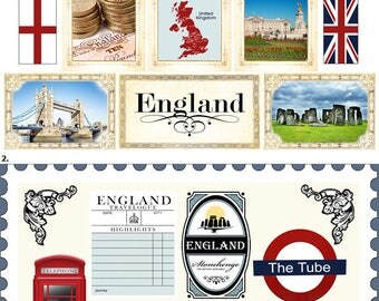 Travel Stickers - England Sightseeing Icons & Images - London - United Kingdom - Britain - 34 Color Assorted - Die Cut and Cut out