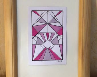 Drawing black marker and acrylic shapes geometric Pink Silver minimalist