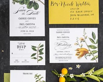 Wedding Invitations Printables Botanical Green Foliage