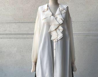 Vintage Silk Ruffled Blouse by Alexandria