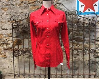 NOS Women's H Bar C Western Shirt.  Polka Dots. Pearl Snaps. XS