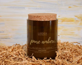 PURE AMBER | Soy candle | unscented | all natural - eco soy wax + wood wick