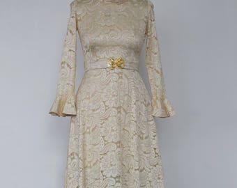 """A Vintage Dress - """"Stevie."""" 1970's Vintage Tea Length Lace Bridal Gown."""