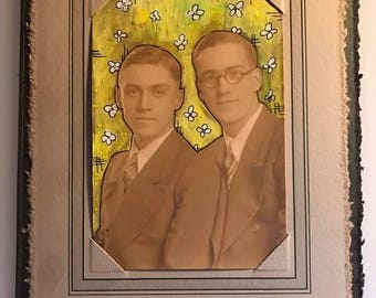 "Antique Photo Painting - ""Yellow Wallpaper Brothers"""