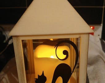 Cream Lantern with lucky black cats