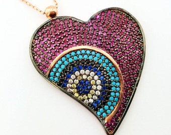 Eye of hearth necklace ,stunning,mother day gift